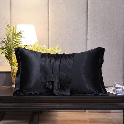 2020新款精品水洗真丝四件套—单品普通枕套 枕套48x74cm/对 至尊黑