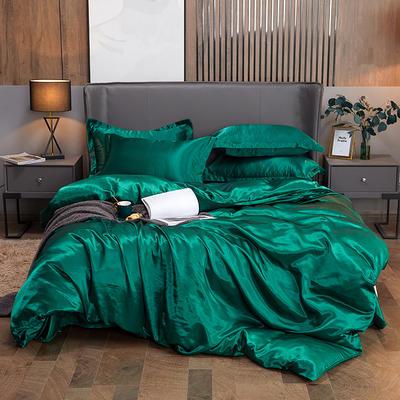 2020新款水洗真絲四件套 1.2m床單款三件套 翡翠綠