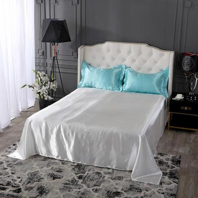 2019年新款水洗冰丝四件套系列—单品床单 170cmx230cm 水蓝加白