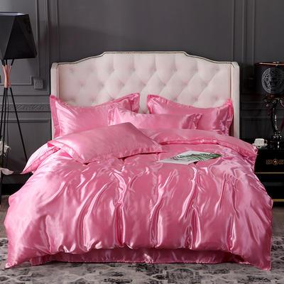 2019年新款水洗冰丝四件套系列—单品床笠 150cmx200cm 粉色