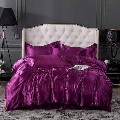 2019年新款水洗冰丝四件套系列—单品床笠 150cmx200cm 紫色
