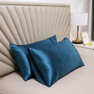 2020新款水洗真丝四件套系列—单品口袋枕套 51cmx76cm/对 巴黎蓝