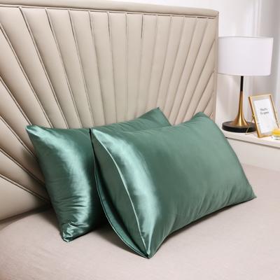 2020新款水洗真丝四件套系列—单品口袋枕套 51cmx76cm/对 豆芽绿