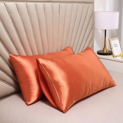2020新款水洗真丝四件套系列—单品口袋枕套 51cmx76cm/对 橘色