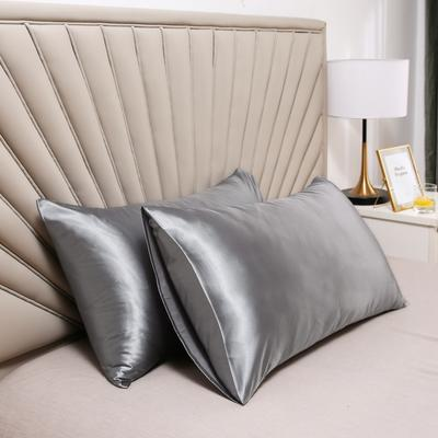2020新款水洗真丝四件套系列—单品口袋枕套 51cmx76cm/对 爵士灰