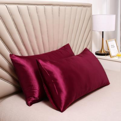 2020新款水洗真丝四件套系列—单品口袋枕套 51cmx76cm/对 玛瑙红