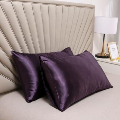 2020新款水洗真丝四件套系列—单品口袋枕套 51cmx76cm/对 水晶紫