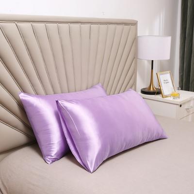 2020新款水洗真丝四件套系列—单品口袋枕套 51cmx76cm/对 香芋紫