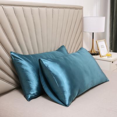 2020新款水洗真丝四件套系列—单品口袋枕套 51cmx76cm/对 月光蓝