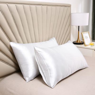 2020新款水洗真丝四件套系列—单品口袋枕套 51cmx76cm/对 珍珠白