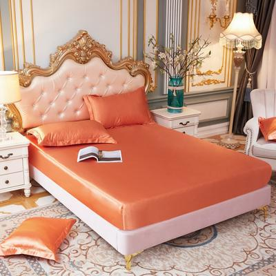 2020新款水洗真丝四件套系列—单品床笠 120cmx200cm 橘色