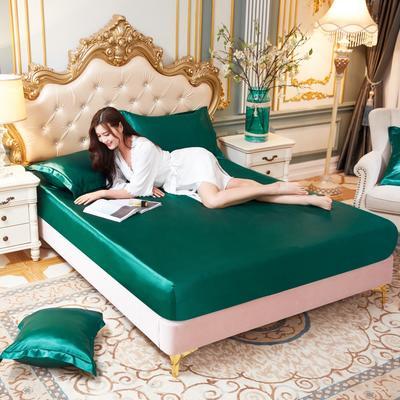2020新款水洗真丝四件套系列—单品床笠 120cmx200cm 翡翠绿