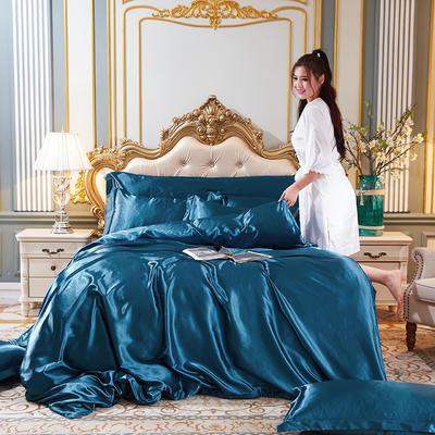 2020新款水洗真丝四件套 1.5m床单款四件套 巴黎蓝
