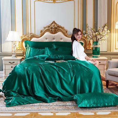 2020新款水洗真丝四件套 1.5m床单款四件套 翡翠绿