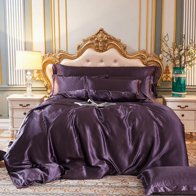 2020新款水洗真丝四件套 1.5m床单款四件套 水晶紫