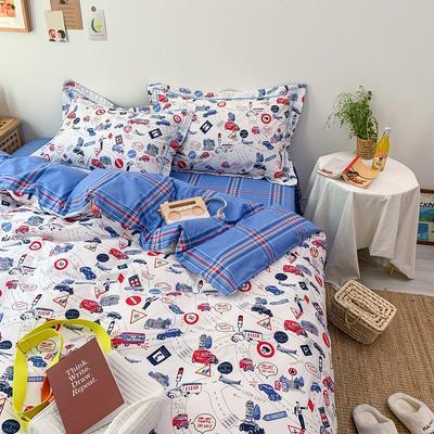 13372全棉卡通四件套ins风小清新纯棉被套床单床笠款懒人图系 1.0m床三件套床单款 都市节拍