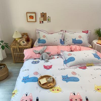 13372全棉卡通四件套ins风小清新纯棉被套床单床笠款懒人图系 1.0m床三件套床单款 猫猫俱乐部