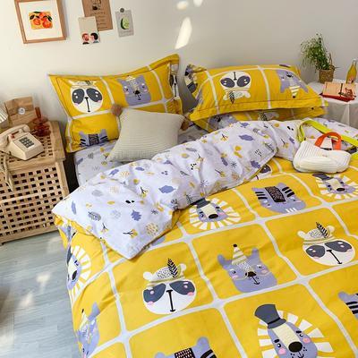 13372全棉卡通四件套ins风小清新纯棉被套床单床笠款懒人图系 1.0m床三件套床单款 萌趣动物园