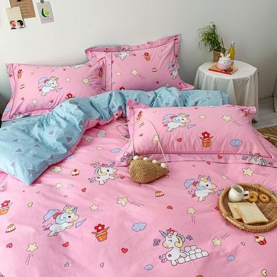 13372全棉卡通四件套ins风小清新纯棉被套床单床笠款懒人图系 1.0m床三件套床单款 小飞马