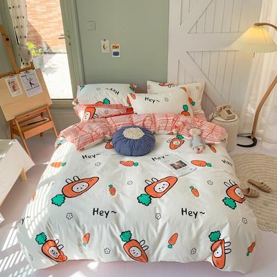 2020年新款全棉纯棉卡通小清新13070四件套实拍图 1.2m床床单三件套 萝卜兔