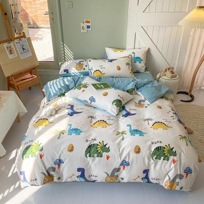 2020年新款全棉纯棉卡通小清新13070四件套实拍图 1.2m床床单三件套 侏罗纪