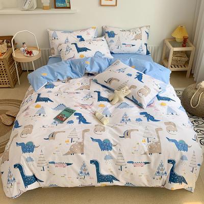2020春夏新品130701全棉四件套纯棉卡通三件套恐龙被套 1.2米床床单款三件套 霸王龙