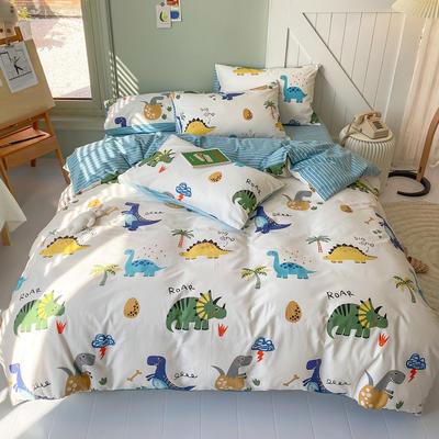 2020春夏新品130701全棉四件套纯棉卡通三件套恐龙被套 1.2米床床单款三件套 侏罗纪