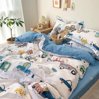 13372全棉卡通四件套ins风小清新纯棉被套床单床笠款懒人图系 1.0m床三件套床单款 快乐汽车