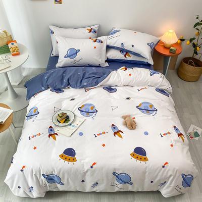 2020新款13070第二批花样年华全棉卡通三四件套小清新纯棉男孩女孩床上用品 1.2米床 床单款三件套 太空旅行