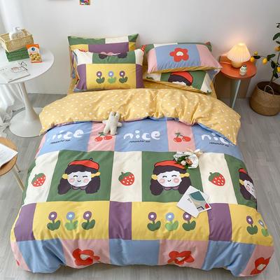 2020新款13070第二批花样年华全棉卡通三四件套小清新纯棉男孩女孩床上用品 1.2米床 床单款三件套 活力女孩