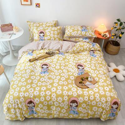 2020新款13070第二批花样年华全棉卡通三四件套小清新纯棉男孩女孩床上用品 1.2米床 床单款三件套 花园女孩