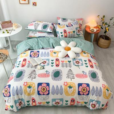 2020新款13070第二批花样年华全棉卡通三四件套小清新纯棉男孩女孩床上用品 1.2米床 床单款三件套 爱的花海