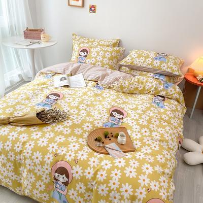 2020新款全棉13070系列卡通小清新日式全棉四件套纯棉三件套 1.2m床单款三件套 花园女孩