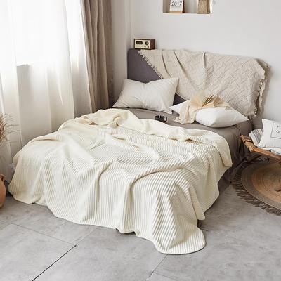 加厚纯色条纹羊羔绒毛毯珊瑚绒毯被子单人双人法兰绒床单盖毯冬 150*200cm 羊羔绒压条-白