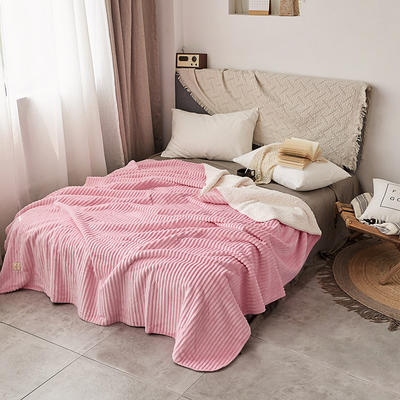 加厚纯色条纹羊羔绒毛毯珊瑚绒毯被子单人双人法兰绒床单盖毯冬 150*200cm 羊羔绒压条-粉