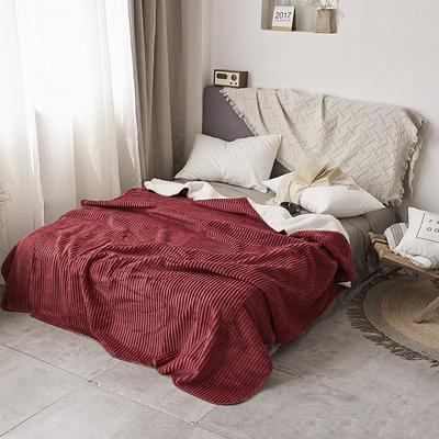 加厚纯色条纹羊羔绒毛毯珊瑚绒毯被子单人双人法兰绒床单盖毯冬 200*230cm 羊羔绒压条-红