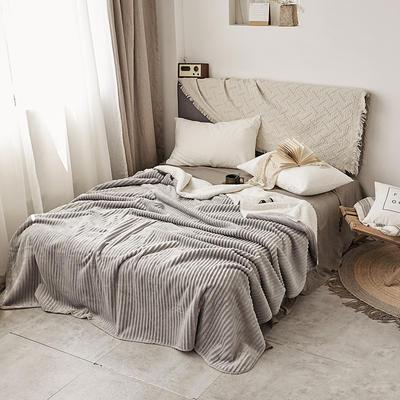 加厚纯色条纹羊羔绒毛毯珊瑚绒毯被子单人双人法兰绒床单盖毯冬 150*200cm 羊羔绒压条-灰