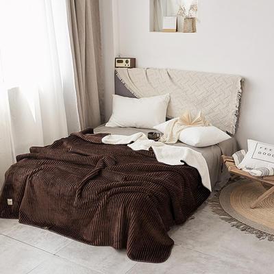 加厚纯色条纹羊羔绒毛毯珊瑚绒毯被子单人双人法兰绒床单盖毯冬 150*200cm 羊羔绒压条-咖