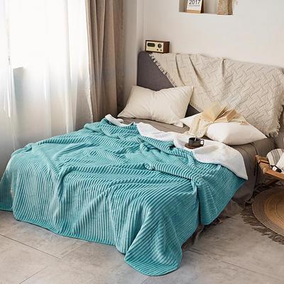 加厚纯色条纹羊羔绒毛毯珊瑚绒毯被子单人双人法兰绒床单盖毯冬 150*200cm 羊羔绒压条-兰