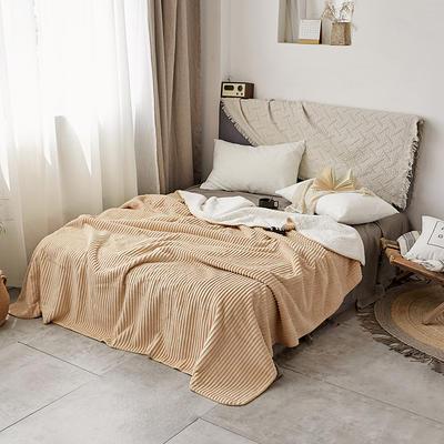 加厚纯色条纹羊羔绒毛毯珊瑚绒毯被子单人双人法兰绒床单盖毯冬 200*230cm 羊羔绒压条-米