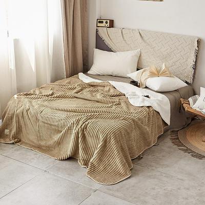 加厚纯色条纹羊羔绒毛毯珊瑚绒毯被子单人双人法兰绒床单盖毯冬 200*230cm 羊羔绒压条-驼