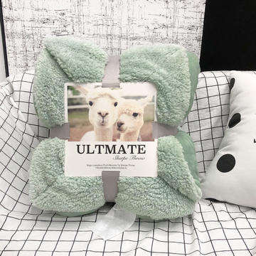 新款ULTMATE羊羔绒毛毯 随意毯 法兰绒拼同色羊羔绒