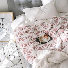 2018新款北欧舒棉绒提花羊羔绒毯 130cmx160cm 粉色