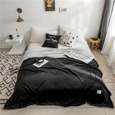 北欧雪兔绒毛毯被子绒毯子加厚双层法兰绒毯 单双人午休沙发盖毯 150cmx200cm 阿什利黑
