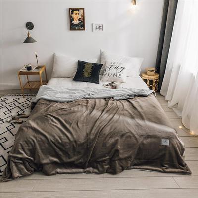 北欧雪兔绒毛毯被子绒毯子加厚双层法兰绒毯 单双人午休沙发盖毯 150cmx200cm 安德烈咖