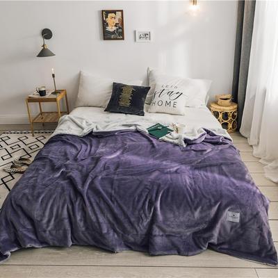 北欧雪兔绒毛毯被子绒毯子加厚双层法兰绒毯 单双人午休沙发盖毯 150cmx200cm 菲芘紫