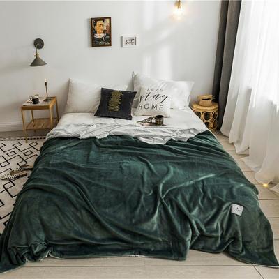 北欧雪兔绒毛毯被子绒毯子加厚双层法兰绒毯 单双人午休沙发盖毯 150cmx200cm 马丁尼绿