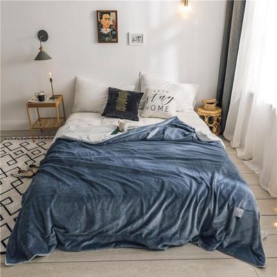 北欧雪兔绒毛毯被子绒毯子加厚双层法兰绒毯 单双人午休沙发盖毯 150cmx200cm 马尾藻蓝