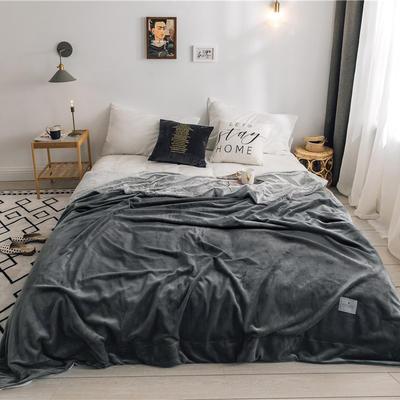 北欧雪兔绒毛毯被子绒毯子加厚双层法兰绒毯 单双人午休沙发盖毯 150cmx200cm 莫拉灰