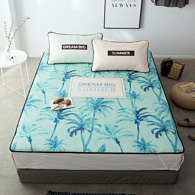 冰絲涼席1.8m床三件套折疊可水洗1.5米夏季單人學生宿舍1.2軟席子 120*200cm 冰絲席:藍色夏威夷